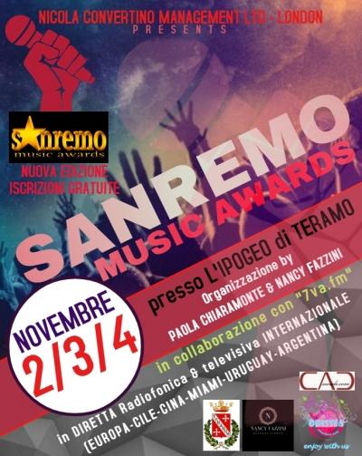 SANREMO MUSIC AWARDS E' DI SCENA ALL'IPOGEO DI TERAMO DAL 2 AL 4 NOVEMBRE