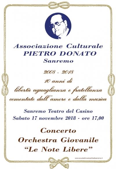 10° Anniversario Associazione  Pietro Donato di Sanremo Concerto 17 Novembre Orchestra Note Libere Teatro del Casinò