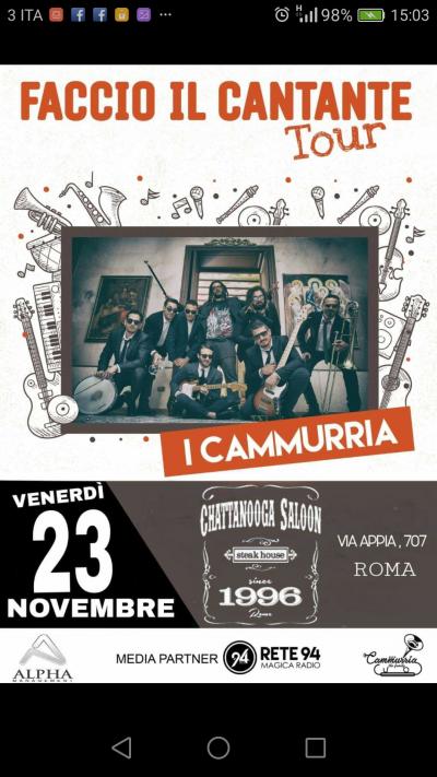 """CAMMURRIA con """"Faccio il cantante Tour"""" al Chattanooga Saloon – Via Appia 707 Roma"""