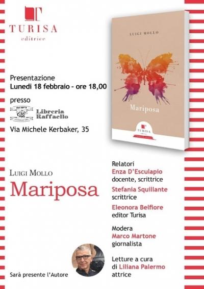 Mariposa, libro di poesie di Luigi Mollo edito da Turisa, con le letture di Liliana Palermo