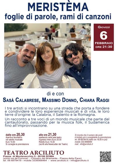 """""""Meristèma"""" foglie di parole, rami di canzoni, al Teatro Arciliuto di Roma il 6 febbraio"""