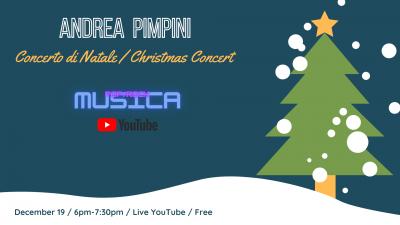 """Sabato 19 Dicembre il cantautore Andrea Pimpini sarà in diretta streaming con il suo """"Concerto di Natale""""!"""