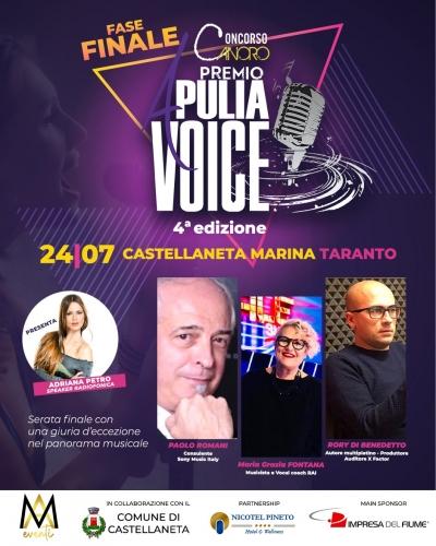 Sabato 24 luglio a Castellaneta Marina il Premio Apulia Voice 2021